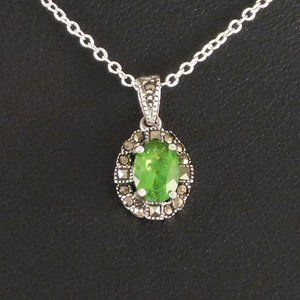 Jewelry - Victorian Styled Peridot & Marcasite Necklace